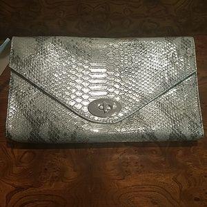 H&M Silver Snakeskin Clutch